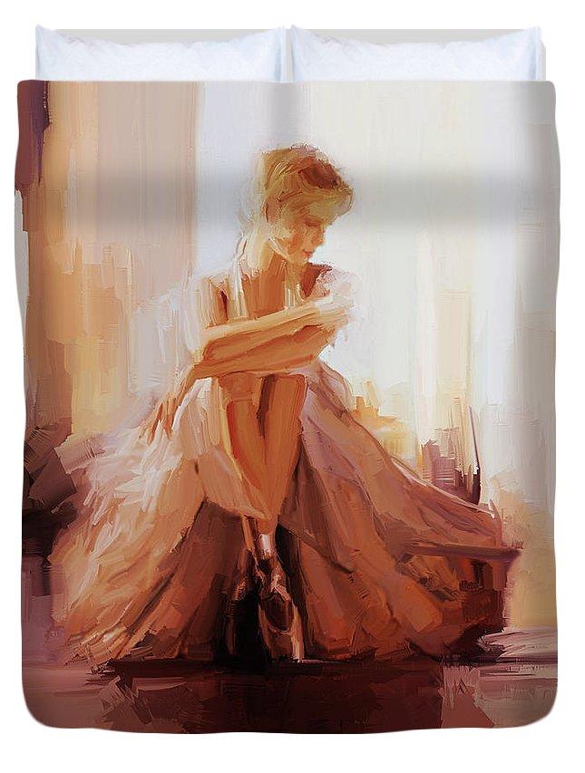 Ballerina Duvet Cover featuring the painting Ballerina Dancer Sitting On The Floor 01 by Gull G