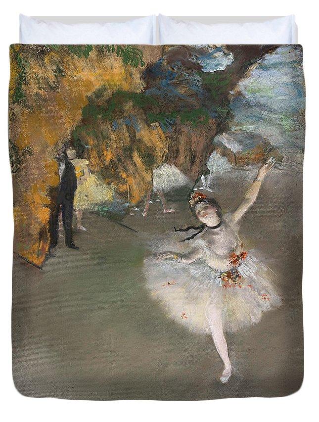 Ballerina Duvet Cover featuring the painting Ballerina by Edgar Degas