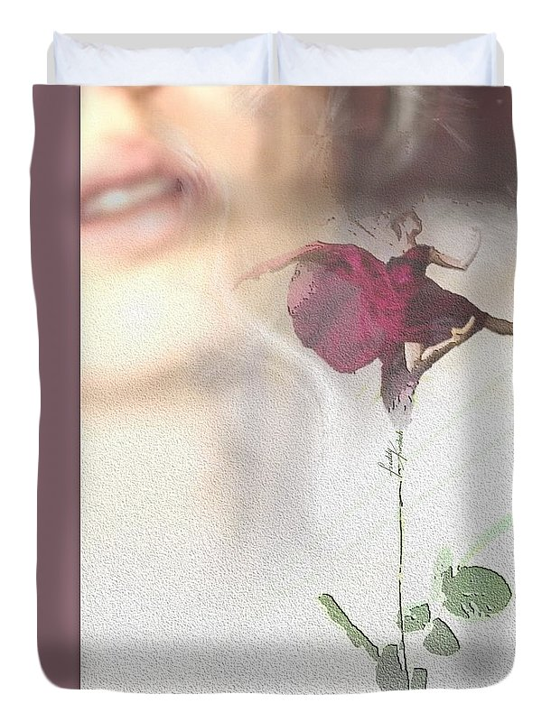 Woman Duvet Cover featuring the painting Ballerina Perfume. by Freddy Kirsheh