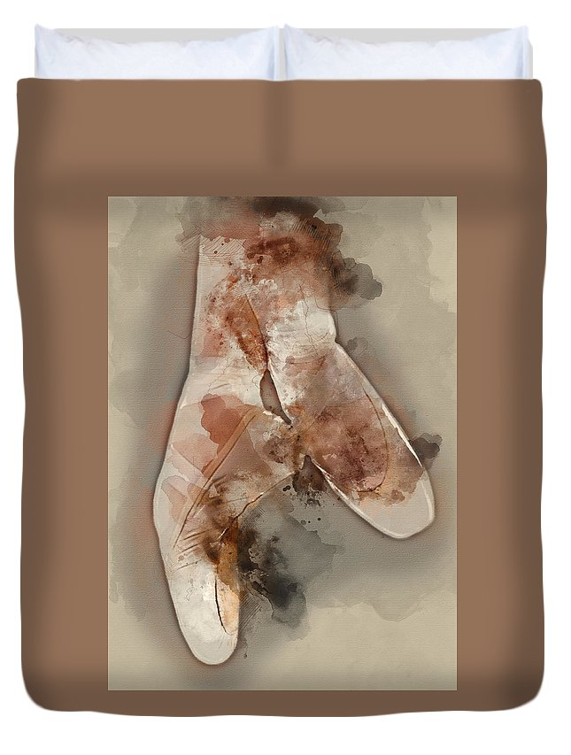 Ballerina Duvet Cover featuring the painting Ballerina Shoes - By Diana Van by Diana Van