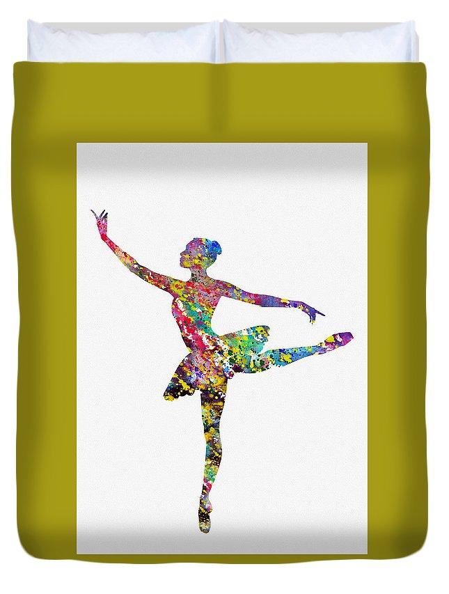 Ballet Dancer Duvet Cover featuring the digital art Ballet Dancer-colorful by Erzebet S