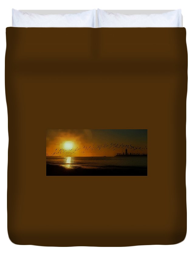 Rynchope Niger Duvet Cover featuring the photograph Ballet In The Golden Sunrise, Early Fall. by John R Williams