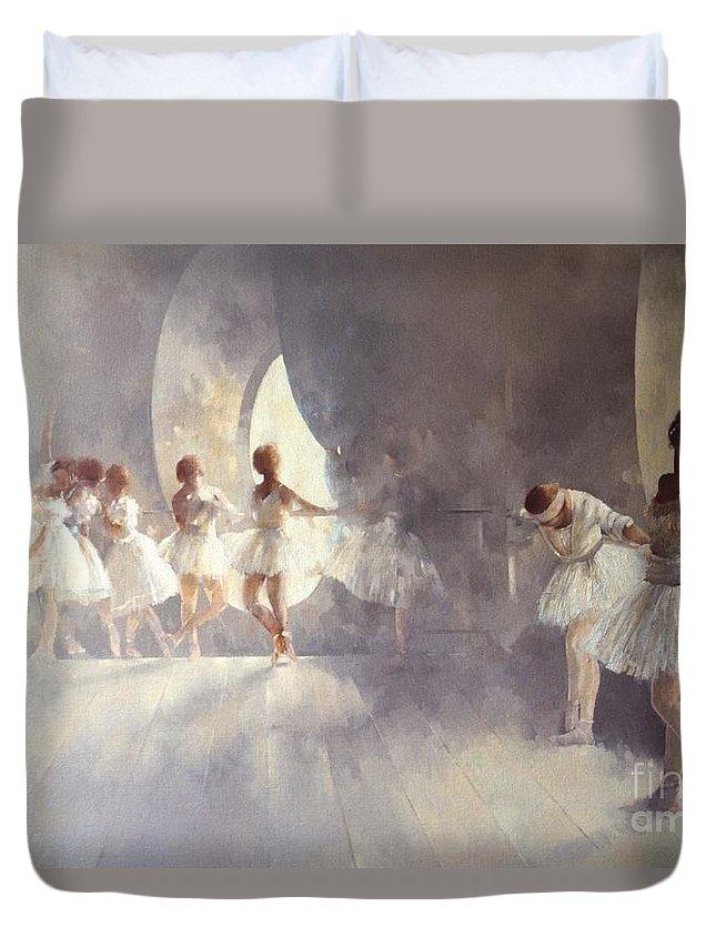 Ballerina; Ballet; Girls; Girl; Female; Dance; Dancing; Dancers; Interior; Tutu; Leotard; Ballet Studio Duvet Cover featuring the painting Ballet Studio by Peter Miller