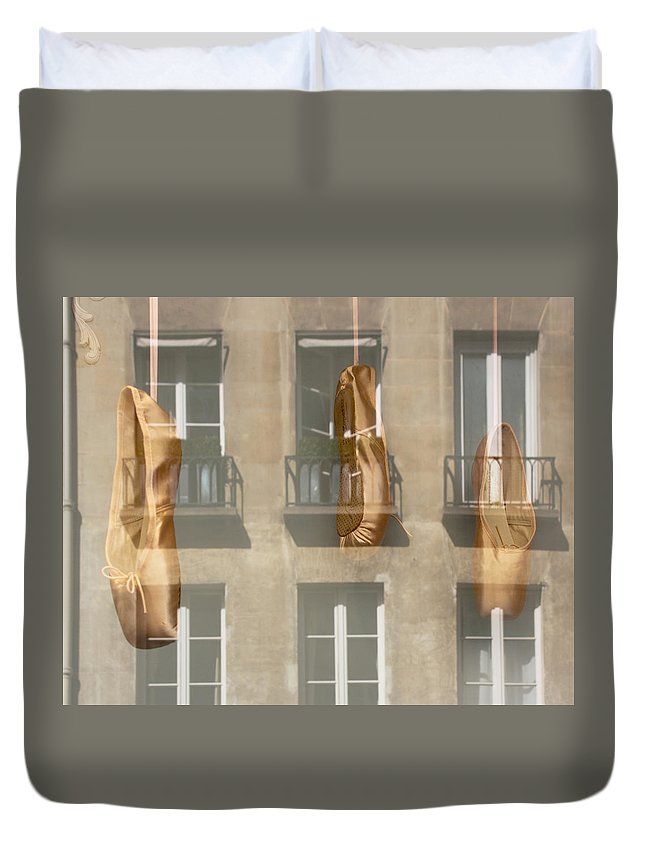 Ballet Duvet Cover featuring the photograph Ballet_shoes by Sophia Pagan