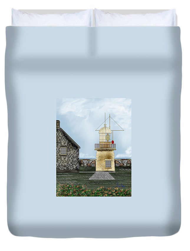 Lighthouse Duvet Cover featuring the painting Ballinacourty Lighthouse At Waterford Ireland by Anne Norskog