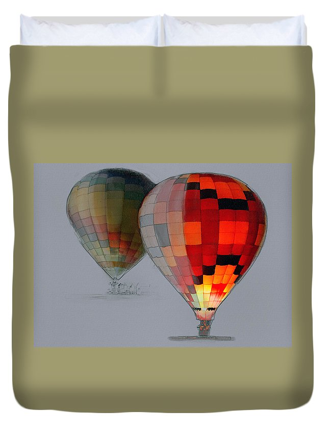 Balloon Duvet Cover featuring the photograph Balloon Glow by Sharon Foster