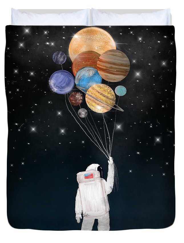 Space Duvet Cover featuring the painting Balloon Universe by Bri Buckley
