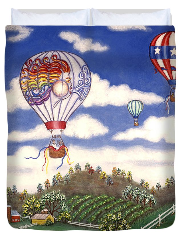 Folk Art Landscape Duvet Cover featuring the painting Ballooning Over The Country by Linda Mears