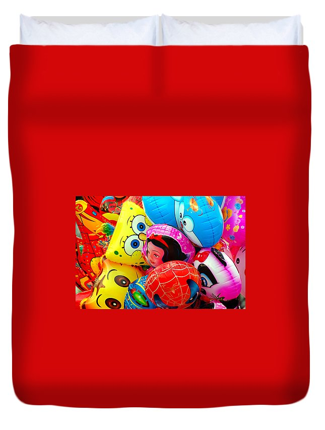 Colorful Duvet Cover featuring the photograph Balloons by Charuhas Images