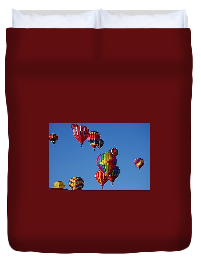 Multi Colored Balloons Duvet Cover featuring the photograph Balloons In Albuquerque by Karen McKenzie McAdoo