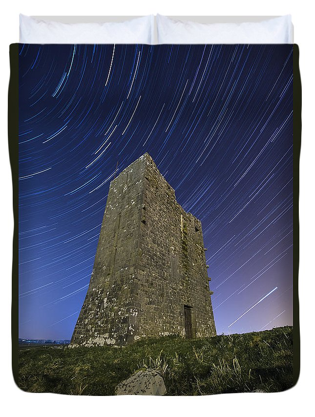 Landscape Duvet Cover featuring the photograph Ballybrit Castle Star Trails by Richard Peyton