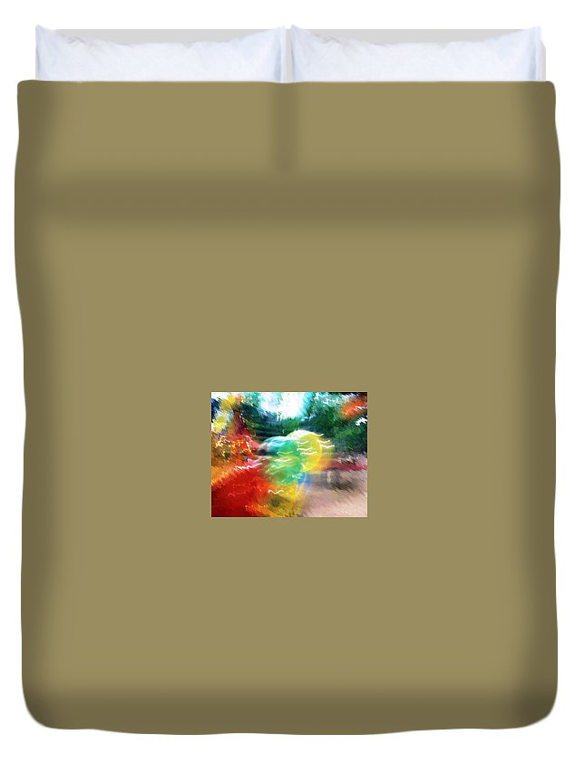 Baloons Duvet Cover featuring the painting Baloons N Lights by Anil Nene