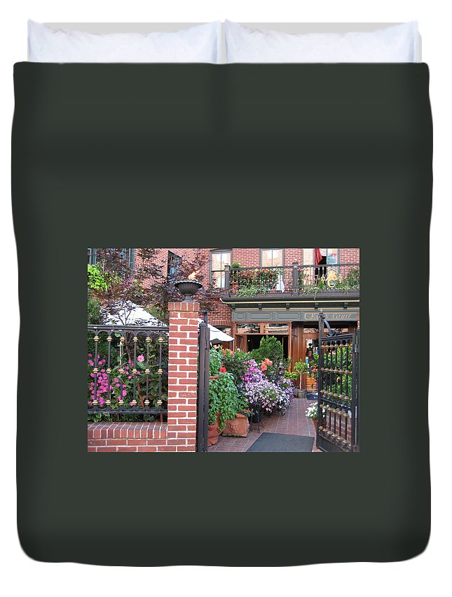 Courtyard Duvet Cover featuring the photograph Baltimore Cafe     By Jean Carton by Jerrold Carton