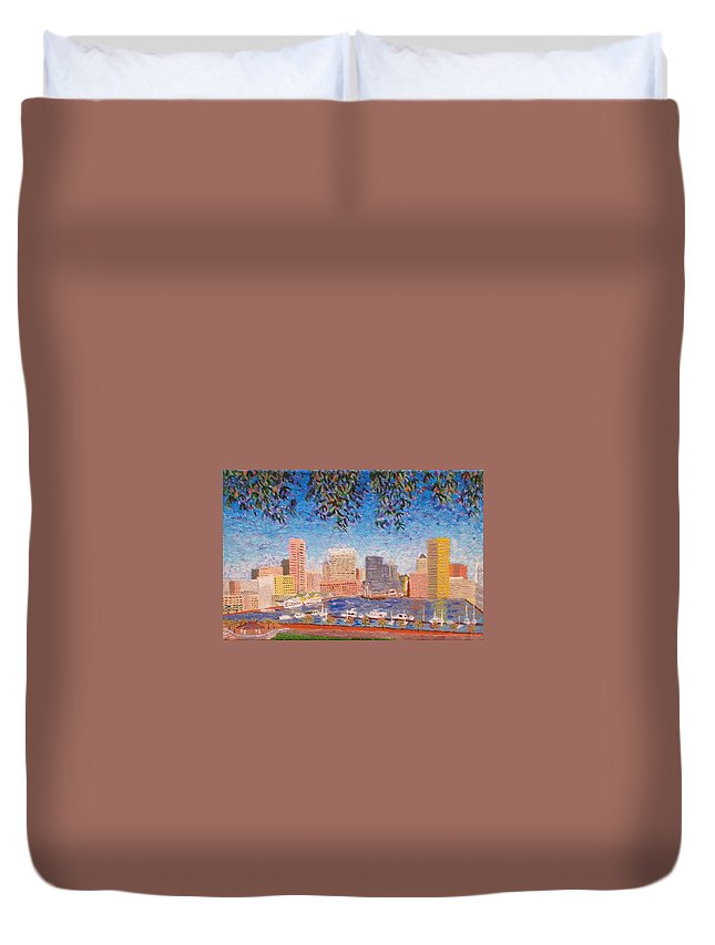 Baltimore Duvet Cover featuring the painting Baltimore Inner Harbor by Paul Bashore