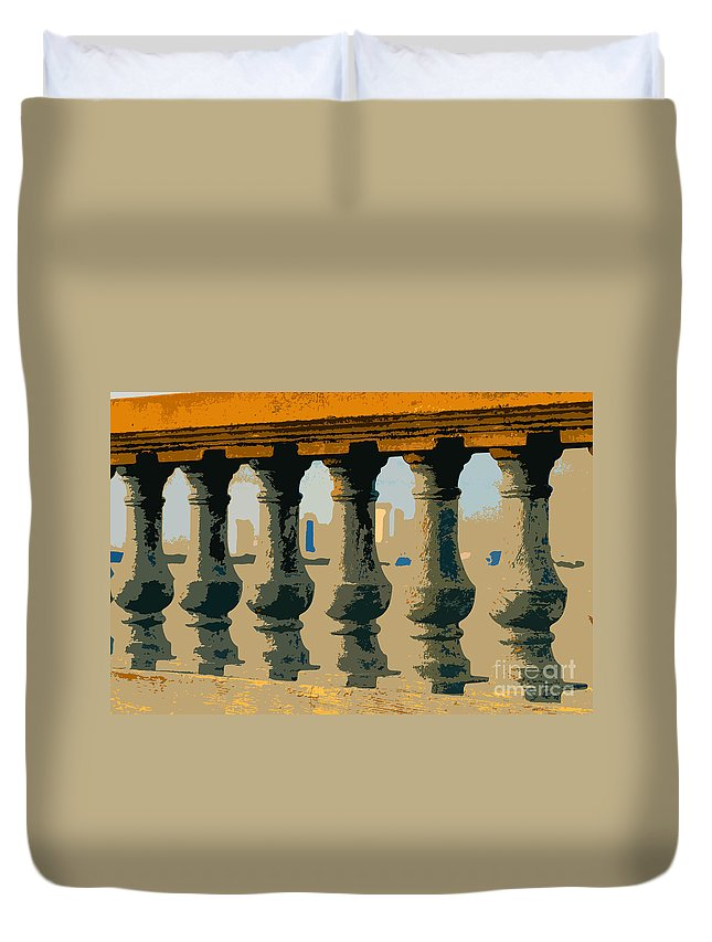 Balustrade Duvet Cover featuring the painting Balustrade by David Lee Thompson