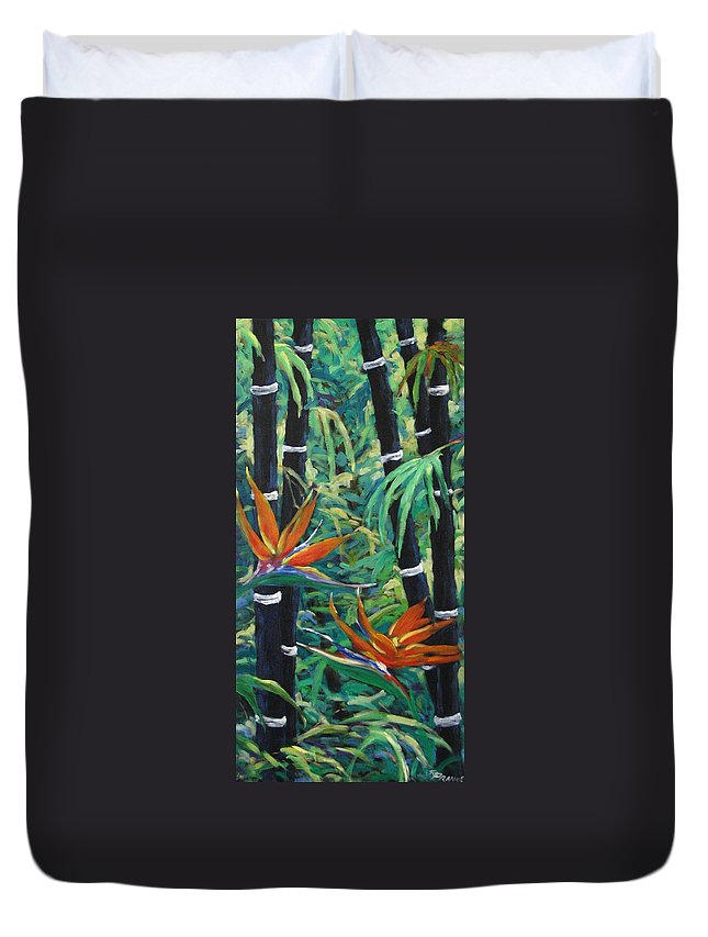 Bamboo Duvet Cover featuring the painting Bamboo And Birds Of Paradise by Richard T Pranke
