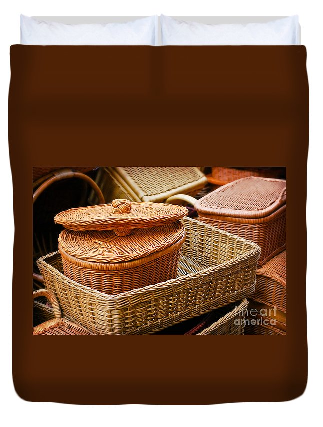 Bamboo Duvet Cover featuring the photograph Bamboo Baskets by Charuhas Images