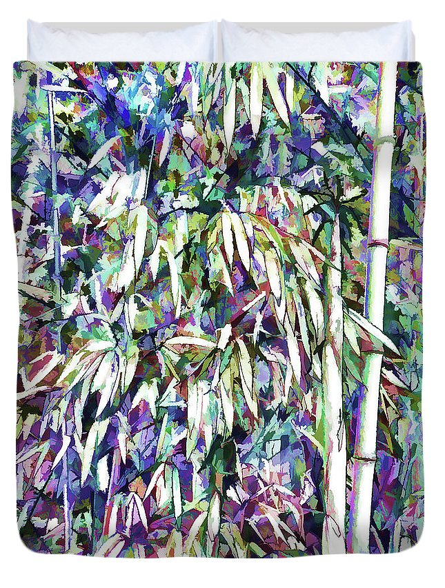 Bamboo Forest Background Duvet Cover featuring the painting Bamboo Forest Background by Jeelan Clark