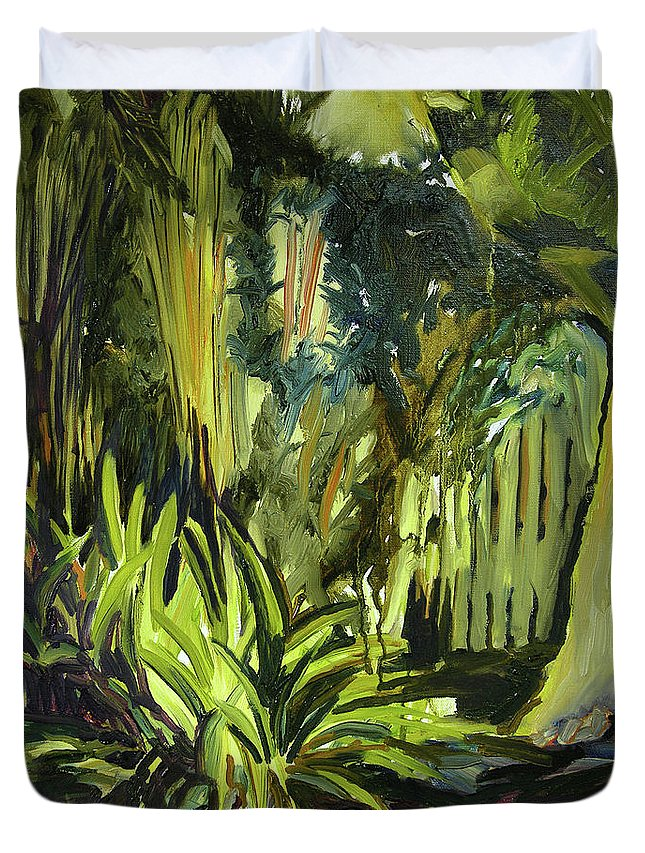Canvas Prints Duvet Cover featuring the painting Bamboo Garden I by Julianne Felton