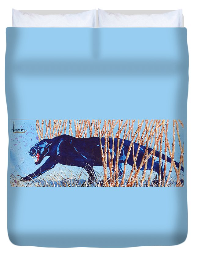 Preditor Cats Duvet Cover featuring the painting Bamboo Panther by Larry Johnson