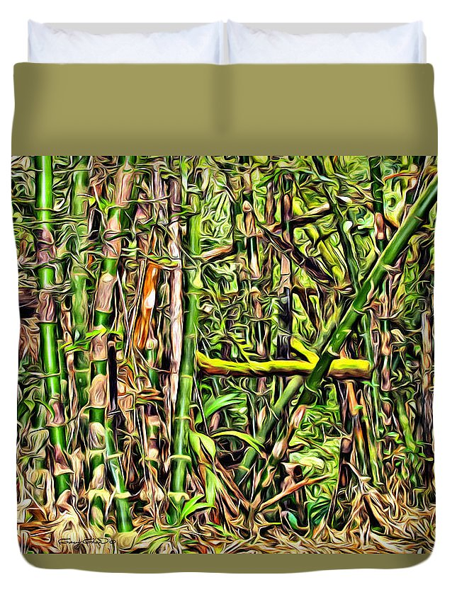 Bamboo Duvet Cover featuring the digital art Bamboo View by Anthony C Chen