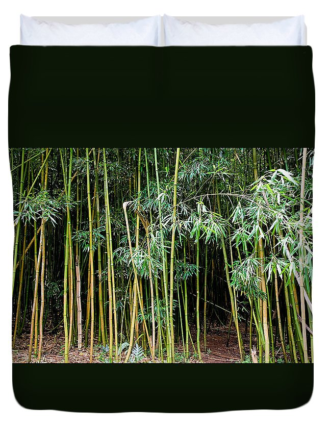 Bamboo Wind Chimes Duvet Cover featuring the photograph Bamboo Wind Chimes Waimoku Falls Trail Hana Maui Hawaii by Michael Bessler
