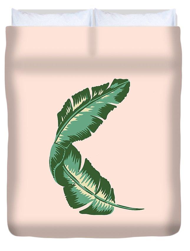 Leaf Duvet Cover featuring the digital art Banana Leaf Square Print by Lauren Amelia Hughes
