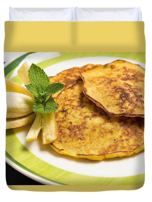 Appetizer Duvet Cover featuring the photograph Banana Pancakes Closeup by Nikita Buida