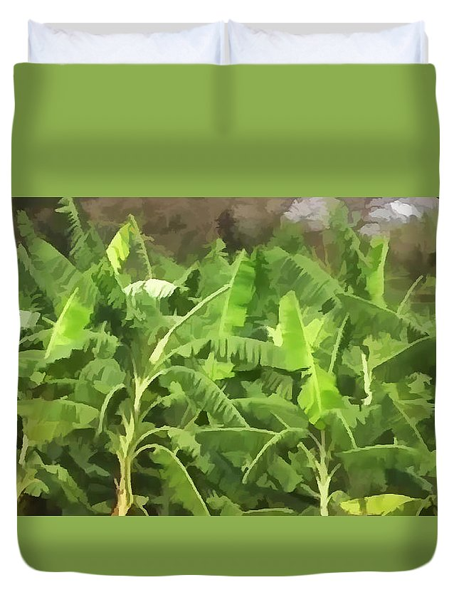 Banana Duvet Cover featuring the painting Banana Plantation by Jeelan Clark