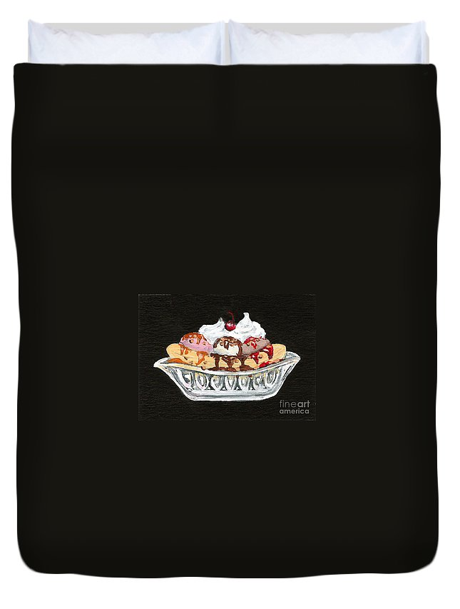 Ice Cream Duvet Cover featuring the painting Banana Split by Elaine Hodges