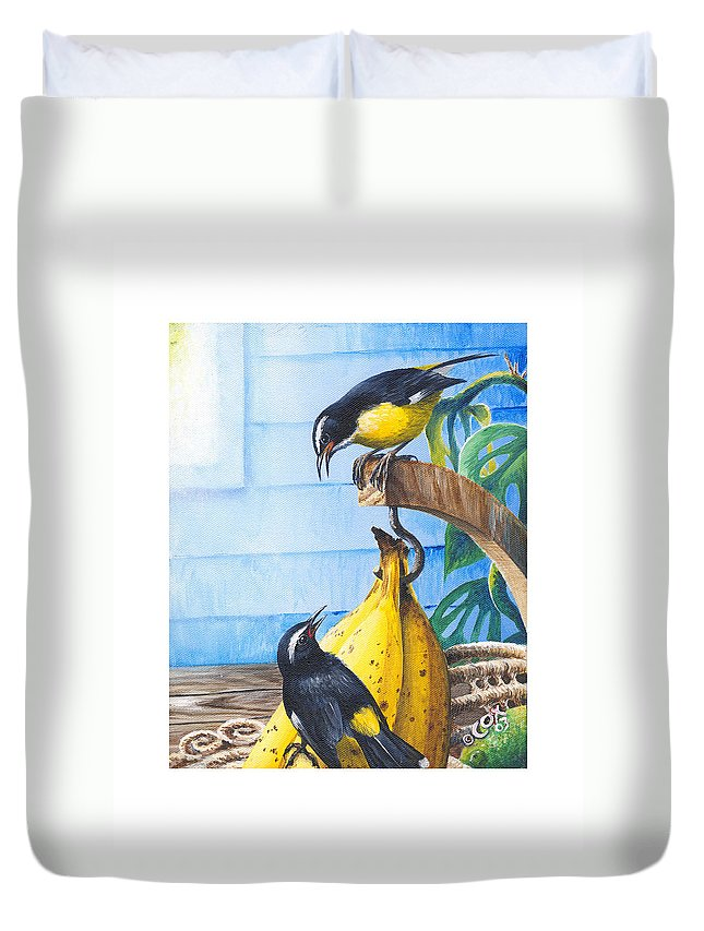 Chris Cox Duvet Cover featuring the painting Bananaquits and bananas by Christopher Cox