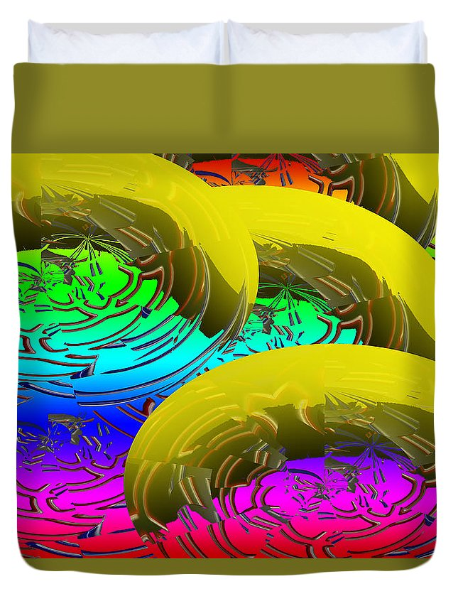 Banana Duvet Cover featuring the digital art Banana's In Ice Water by XERXEESE Color Schemes