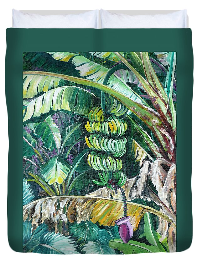 Caribbean Painting Bananas Trees P Painting Fruit Painting Tropical Painting Duvet Cover featuring the painting Bananas by Karin Dawn Kelshall- Best