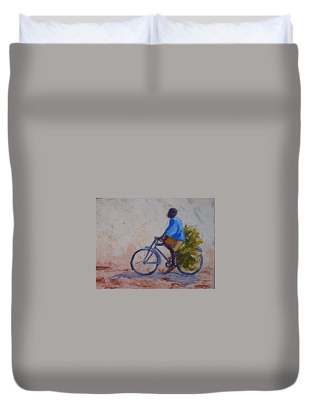 Bicycle Duvet Cover featuring the painting Bananas by Yvonne Ankerman
