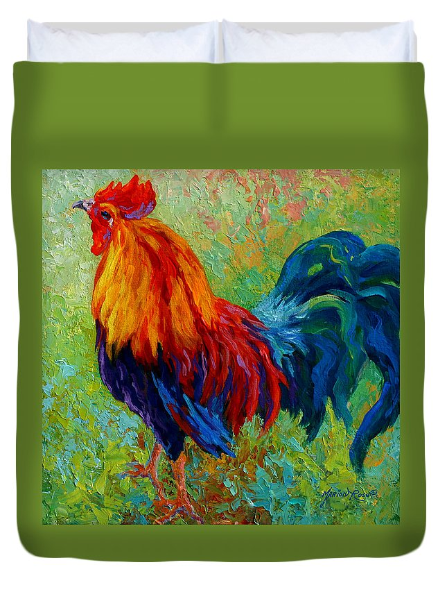 Rooster Duvet Cover featuring the painting Band Of Gold by Marion Rose