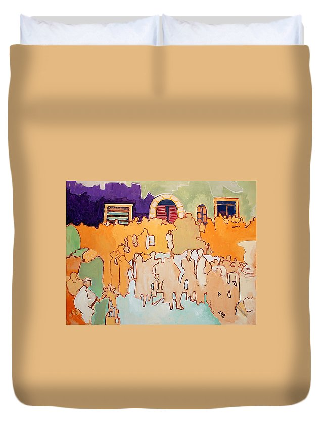 Band Duvet Cover featuring the painting Banda di Villaggio by Kurt Hausmann