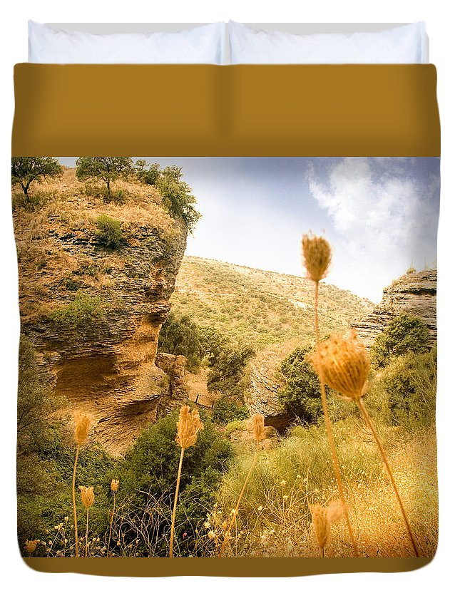 Spain Duvet Cover featuring the photograph Bandit Country Near The Edge Of The Fan In Ronda Area Andalucia Spain by Mal Bray