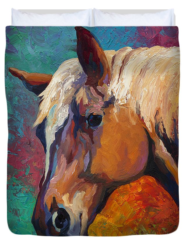 Horses Duvet Cover featuring the painting Bandit by Marion Rose