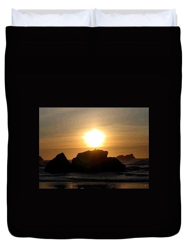Seagull Duvet Cover featuring the digital art Bandon Beach Silhouette by Will Borden