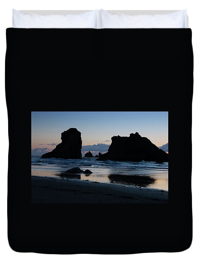 Oregon Duvet Cover featuring the photograph Bandon Oregon Sea Stacks by Renee Hong