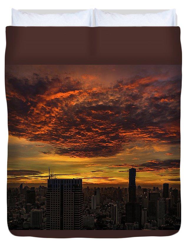 Bangkok Duvet Cover featuring the photograph Bangkok Sunrise by Edward Nowak