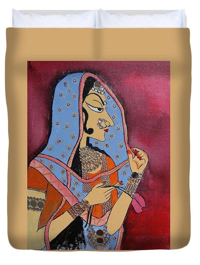 Banithani Duvet Cover featuring the painting Bani Thani by Shilpa Mehta