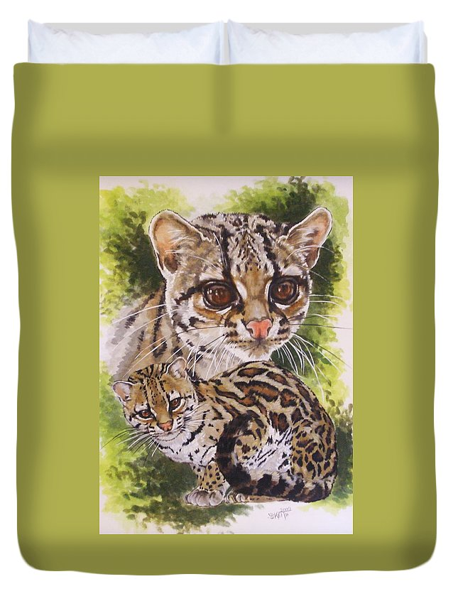 Margay Duvet Cover featuring the mixed media Bantam by Barbara Keith