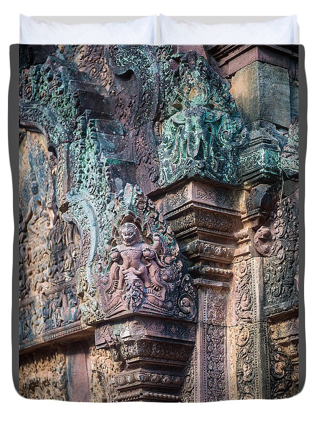 Sunrise Duvet Cover featuring the photograph Banteay Srey Temple Bas Relief Details by Mike Reid