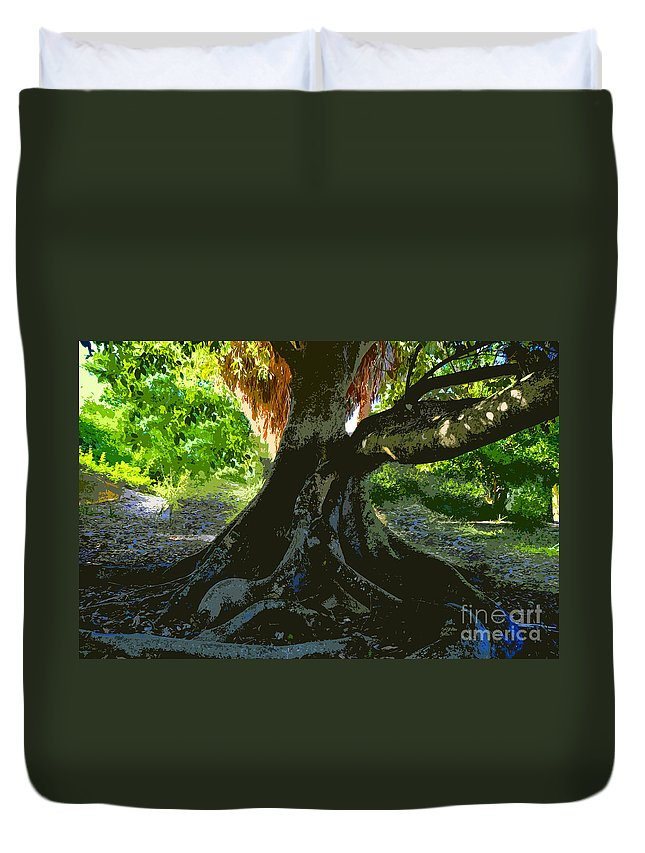 Banyan Tree Duvet Cover featuring the painting Banyan by David Lee Thompson