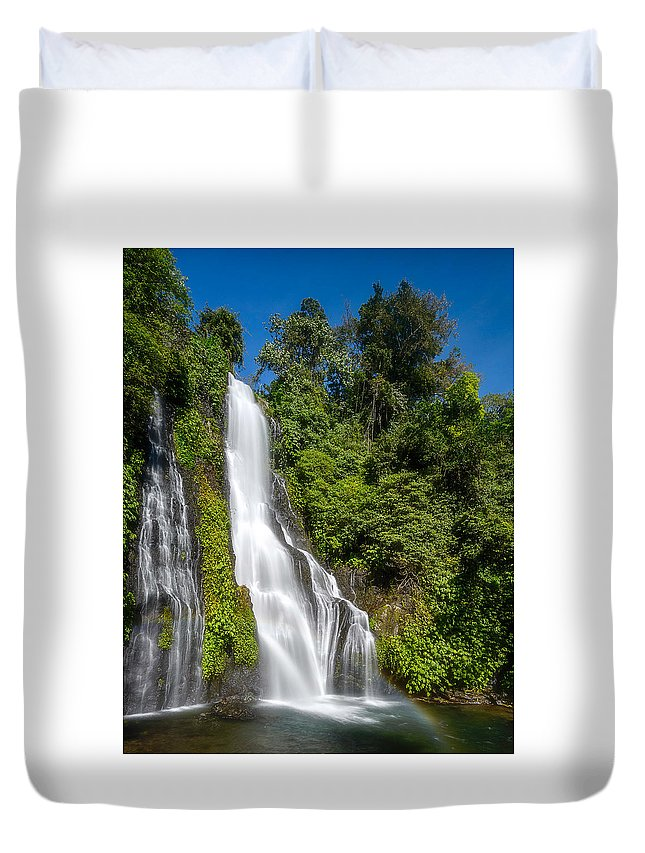 #waterfall #green #water #fresh #landscape #bluesky #sky Duvet Cover featuring the photograph Banyumala Waterfall by Sugianto Art Photography