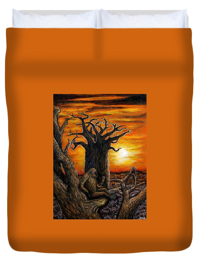 Landscape Duvet Cover featuring the painting Baobab Tree by Koffi Mbairamadji