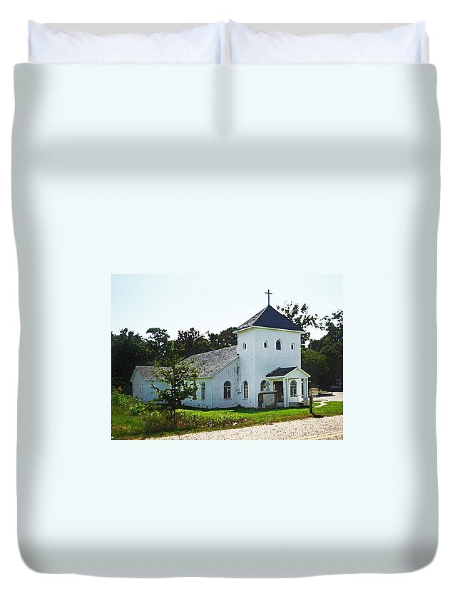 Duvet Cover featuring the digital art Baptist Church by Michael Thomas