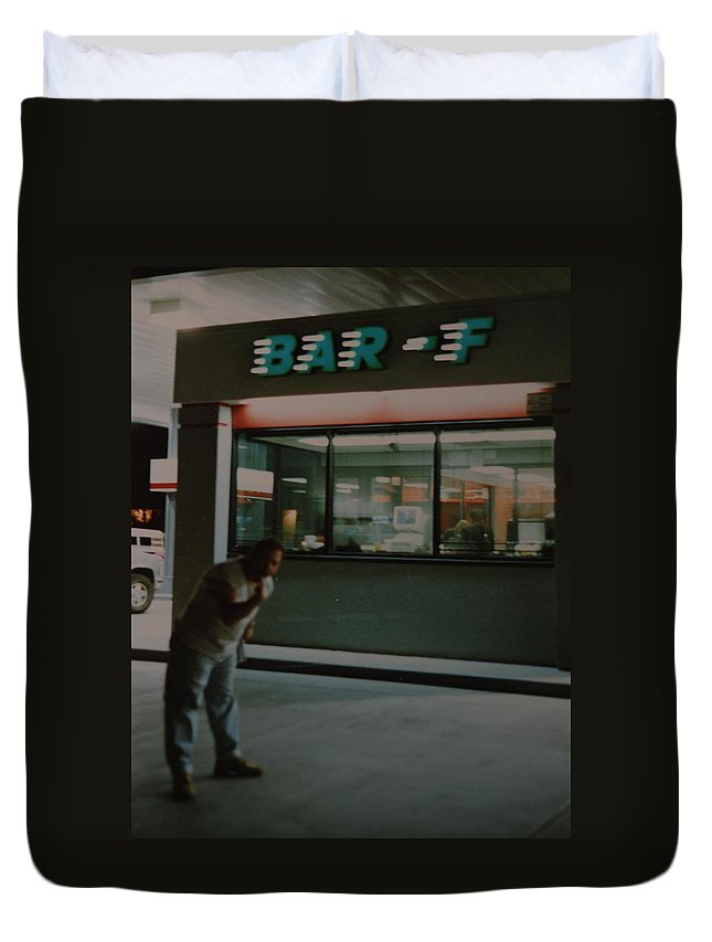 Funny Duvet Cover featuring the photograph Bar F by Rob Hans