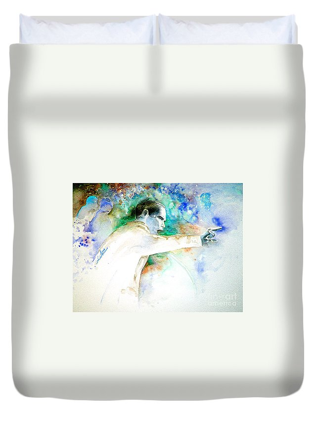Portrait Barack Obama Duvet Cover featuring the painting Barack Obama Pointing At You by Miki De Goodaboom